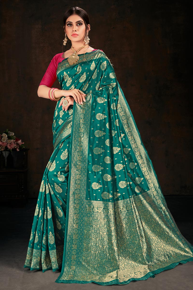 Teal Color Sangeet Wear Art Silk Fabric Weaving Work Saree
