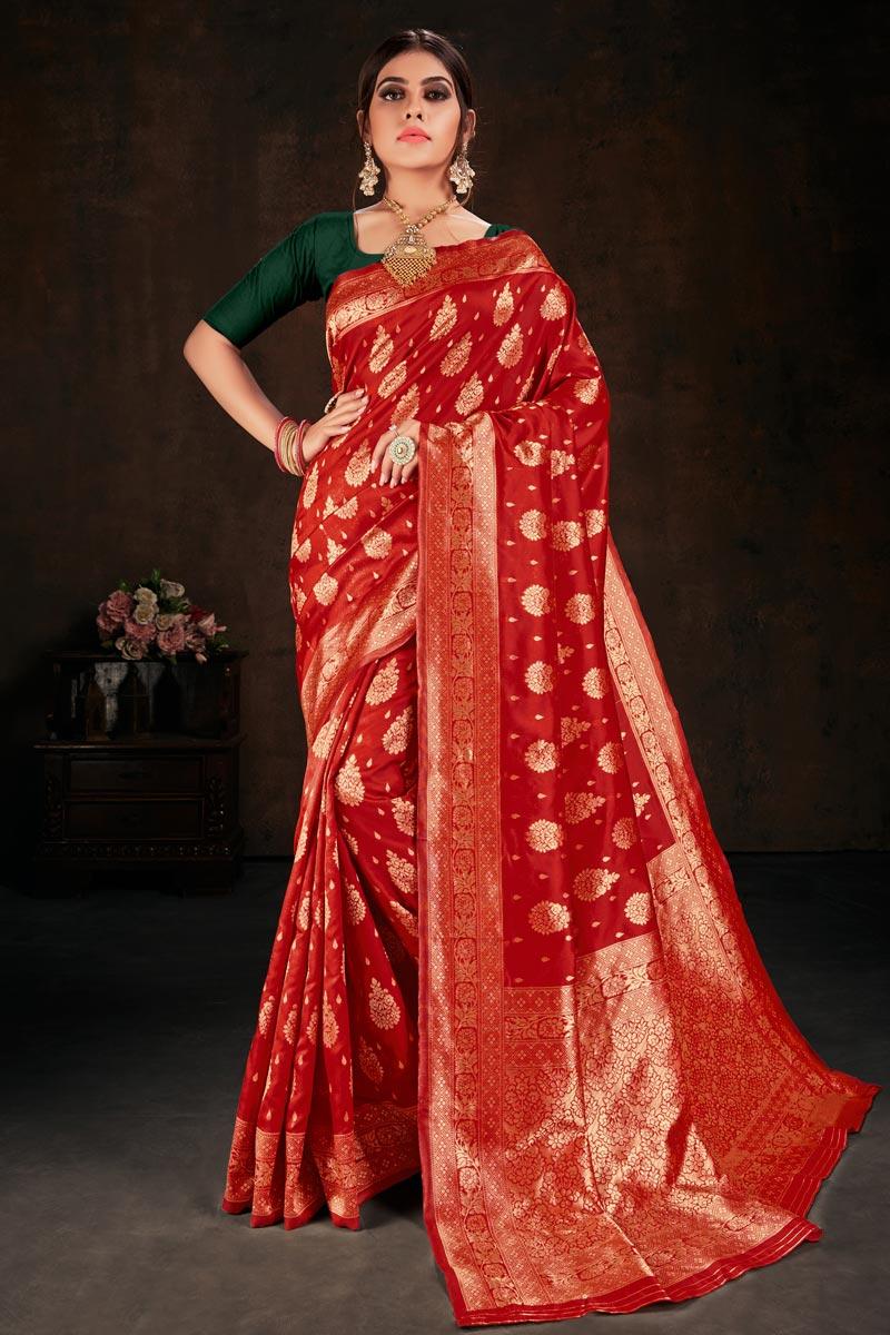 Art Silk Fabric Red Color Weaving Work Saree