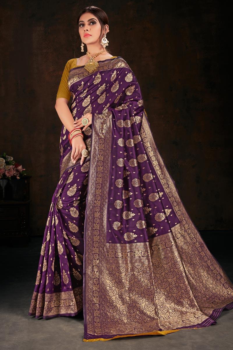 Sangeet Wear Purple Color Art Silk Fabric Weaving Work Saree