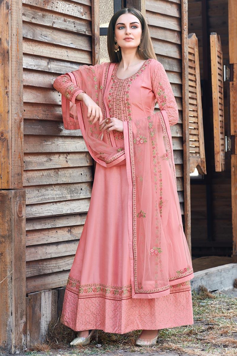 Designer Art Silk Party Wear Embroidered Pink Color Anarkali Dress