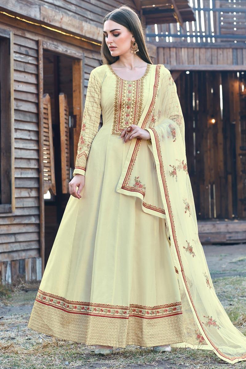Beige Color Party Wear Designer Embroidered Anarkali Suit In Art Silk