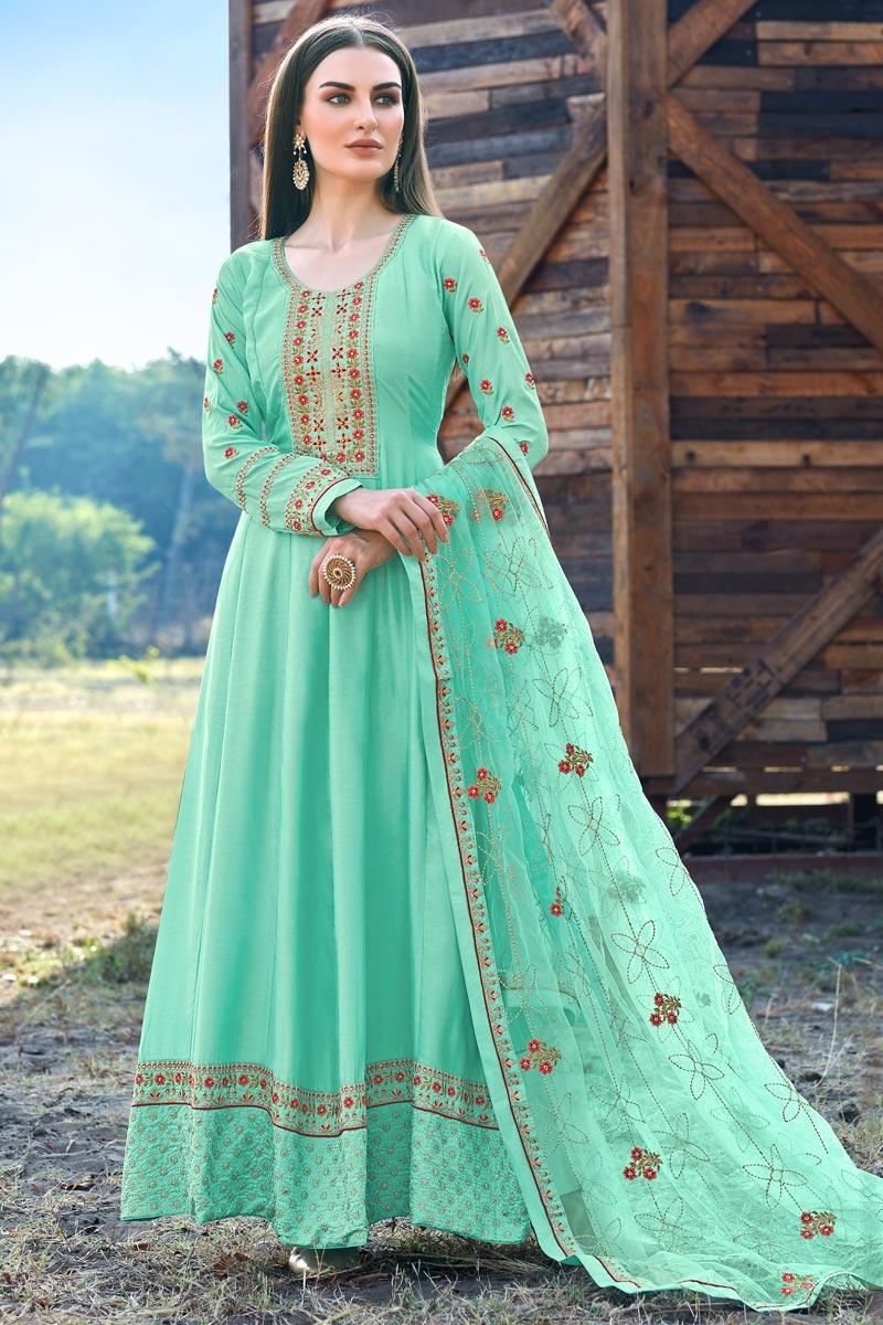 Sea Green Color Party Wear Designer Embroidered Anarkali Suit In Art Silk