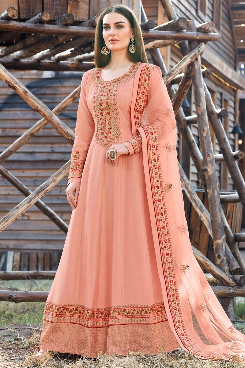 Designer Party Wear Peach Color Art Silk Embroidered Anarkali Dress