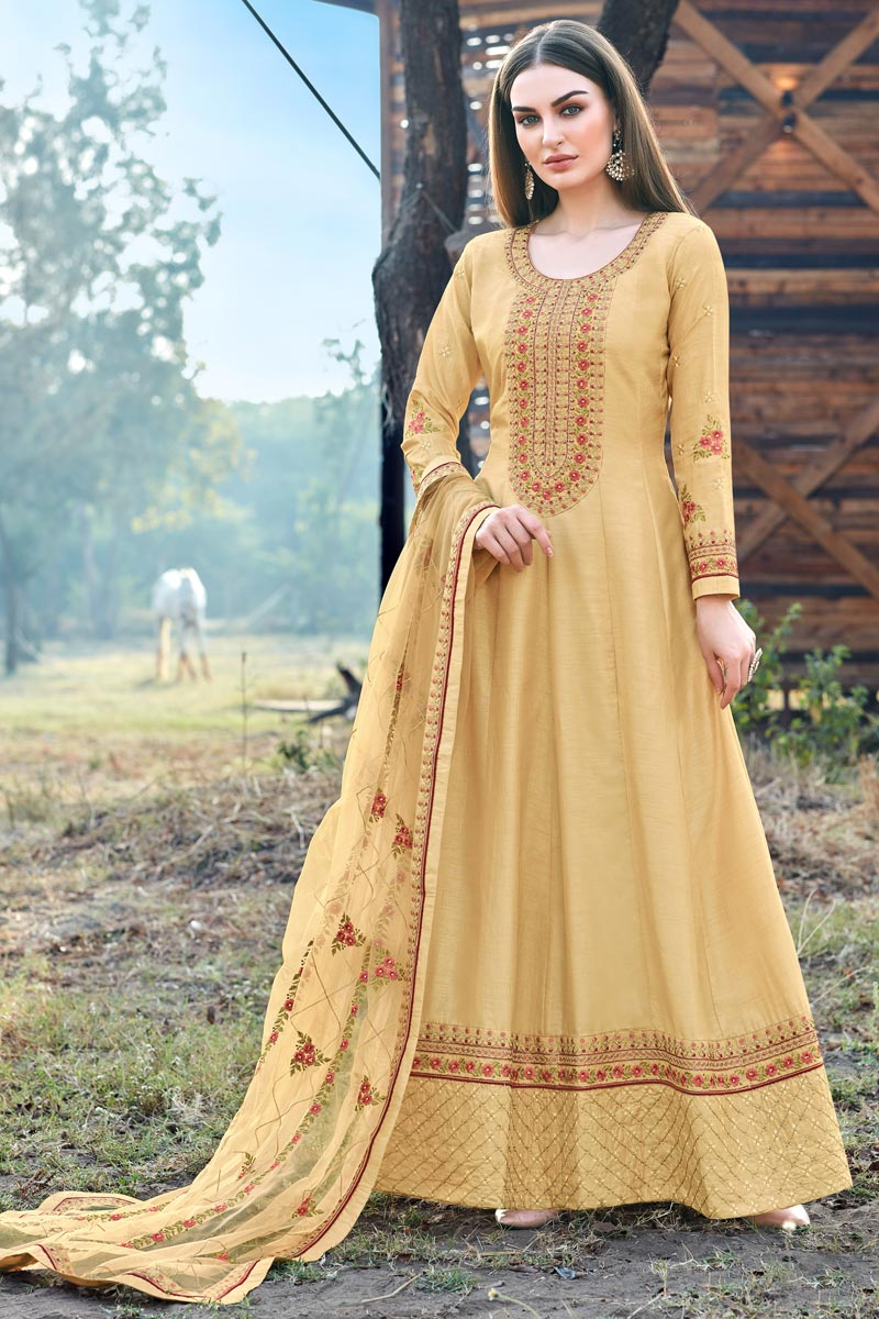 Party Wear Art Silk Designer Embroidered Anarkali Suit In Yellow Color