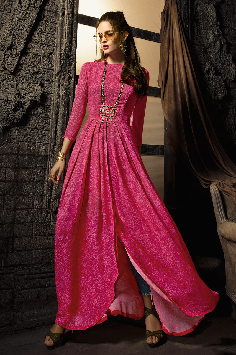 Designer Party Wear Rani Color Georgette Indowestern Kurti With Slit