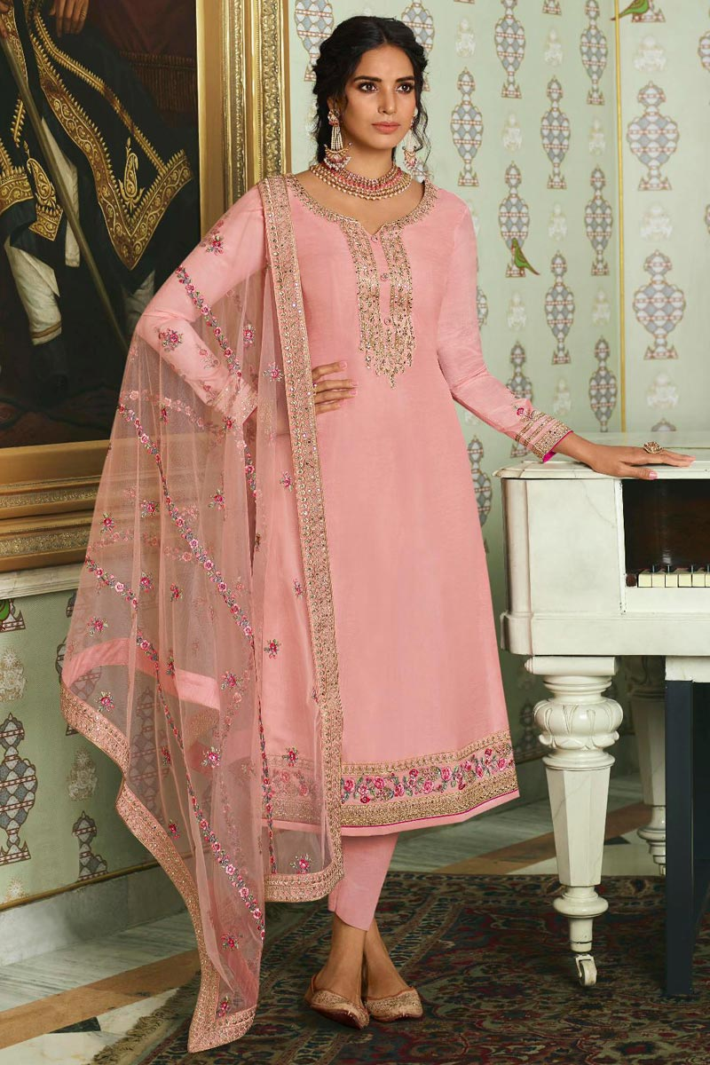 Sangeet Wear Chic Pink Color Embroidered Straight Cut Churidar Suit In Art Silk