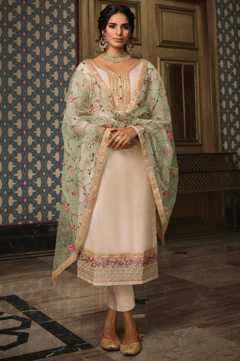 Chic Cream Color Sangeet Wear Embroidered Art Silk Straight Cut Churidar Dress