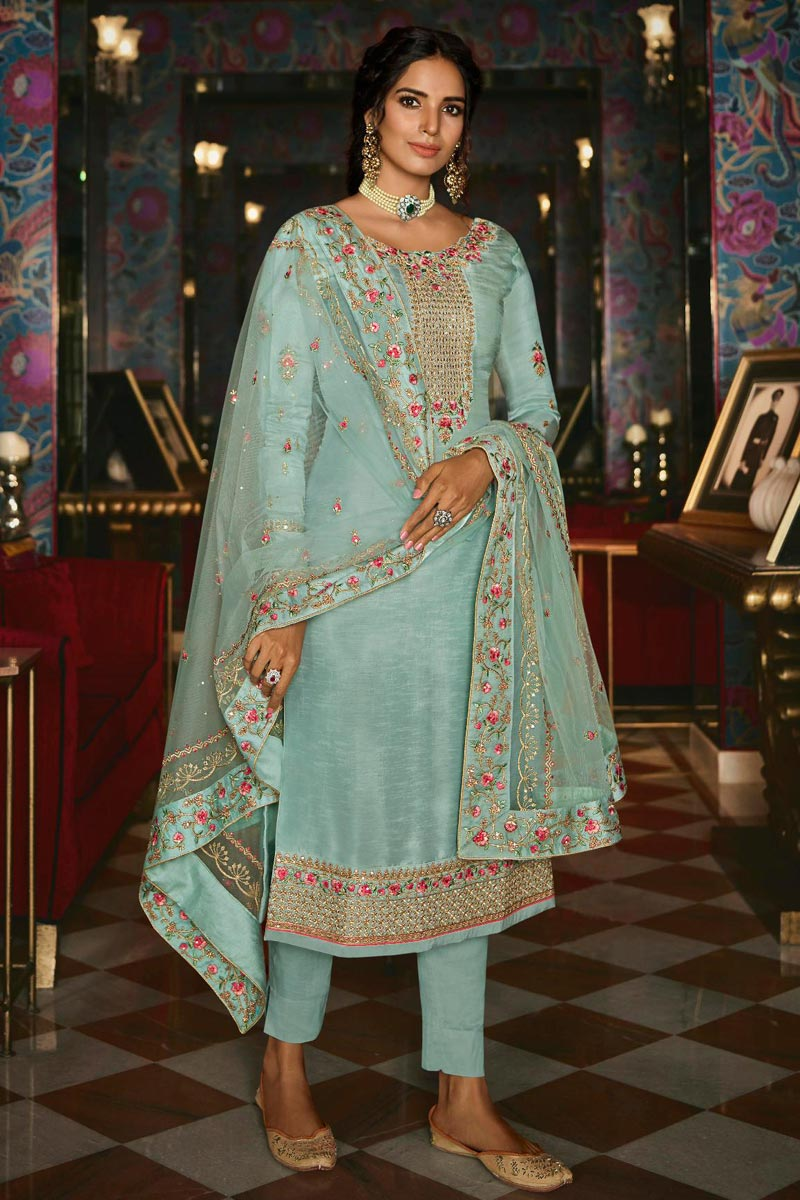 Light Cyan Color Sangeet Wear Chic Embroidered Straight Cut Churidar Suit In Art Silk