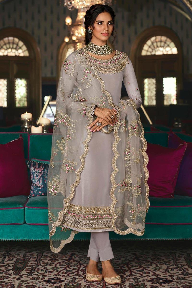 Sangeet Wear Grey Color Chic Art Silk Embroidered Straight Cut Churidar Dress