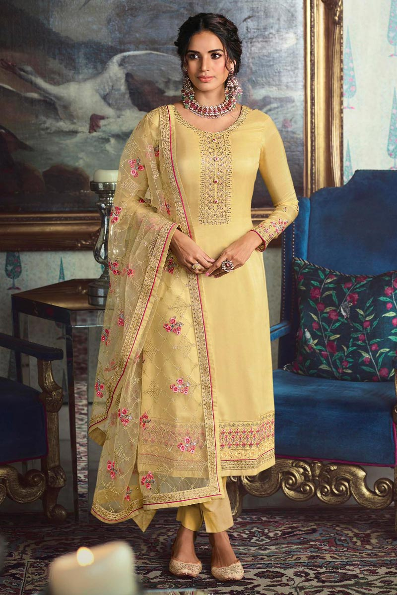 Chic Art Silk Sangeet Wear Embroidered Straight Cut Churidar Suit In Yellow Color