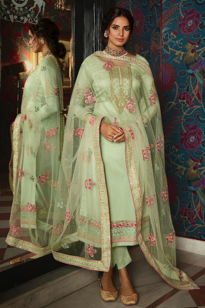 Sangeet Wear Chic Sea Green Color Embroidered Straight Cut Churidar Art Silk Dress