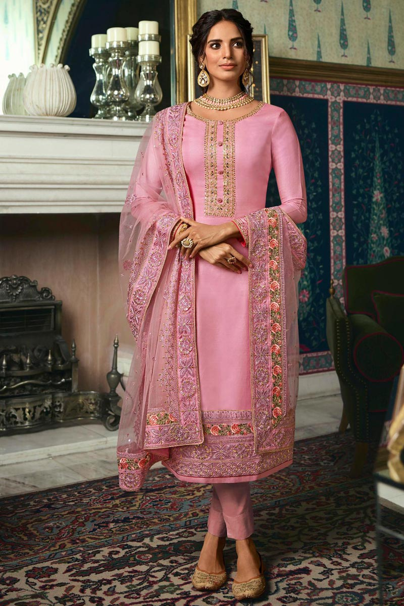 Sangeet Wear Chic Art Silk Embroidered Straight Cut Churidar Suit In Pink Color