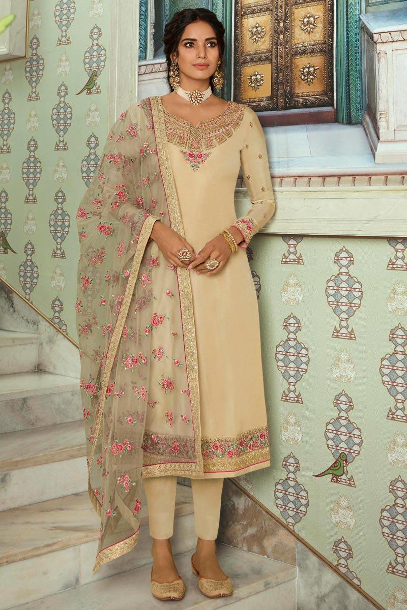 Chic Art Silk Sangeet Wear Embroidered Beige Color Straight Cut Churidar Dress