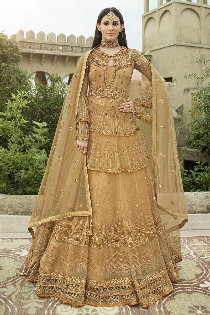 Beige Color Embroidery Work Designer Wedding Wear Net Fabric Anarkali Suit