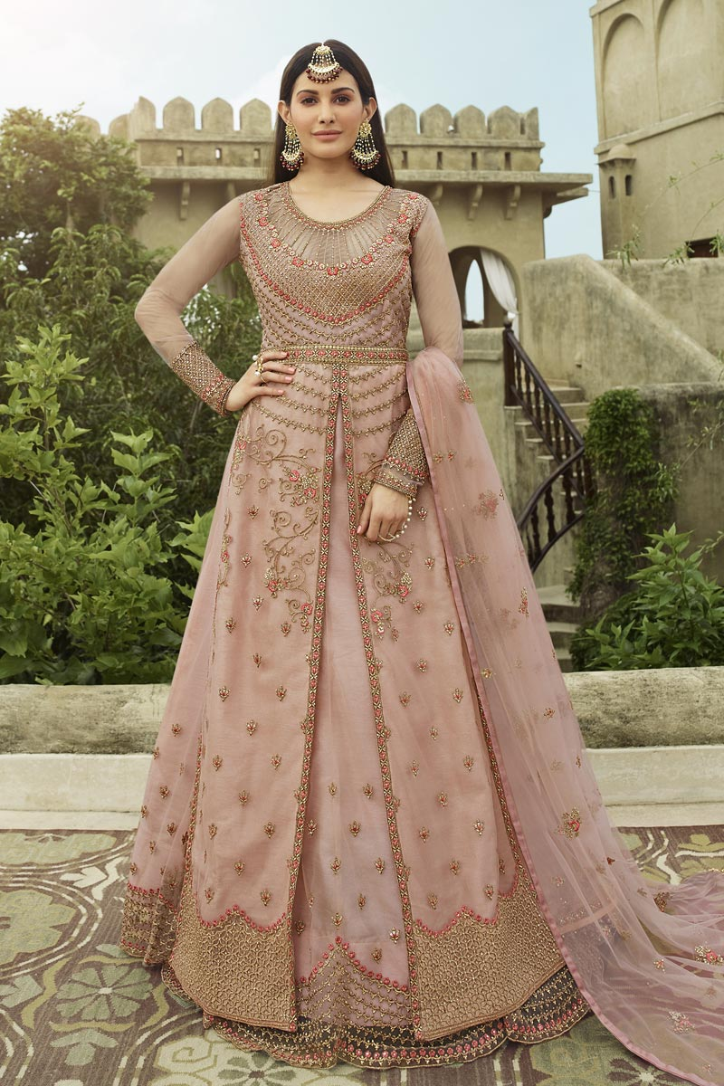 Embroidery Work Sangeet Wear Stylish Anarkali Suit In Pink Color Net Fabric