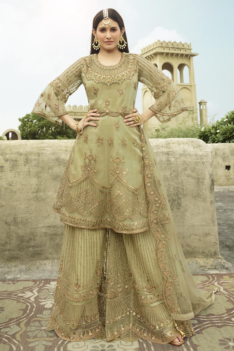 Net Fabric Embroidery Work Festive Wear Trendy Palazzo Suit In Sea Green Color