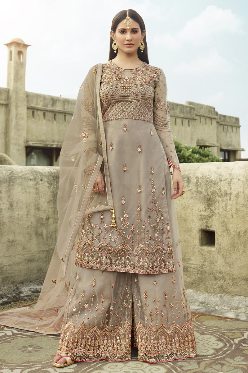 Embroidery Work Sangeet Wear Stylish Palazzo Suit In Dark Beige Color Net Fabric