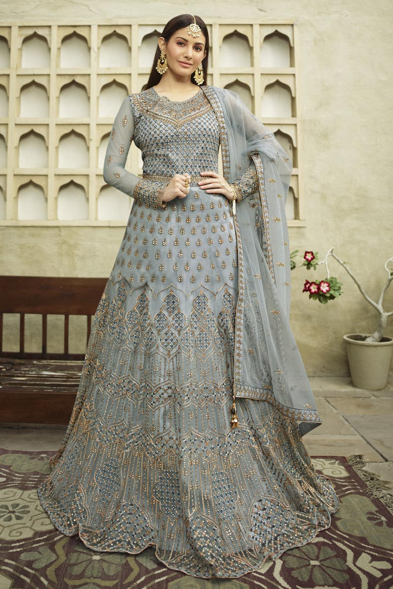 Net Fabric Embroidery Work Wedding Wear Designer Anarkali Suit In Grey Color
