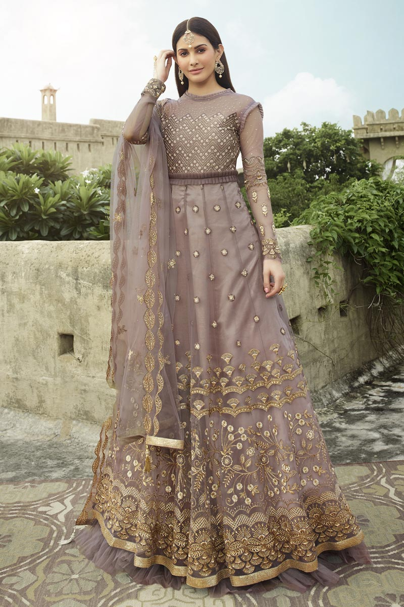 Lavender Color Net Fabric Embroidery Work Reception Wear Fancy Anarkali Suit