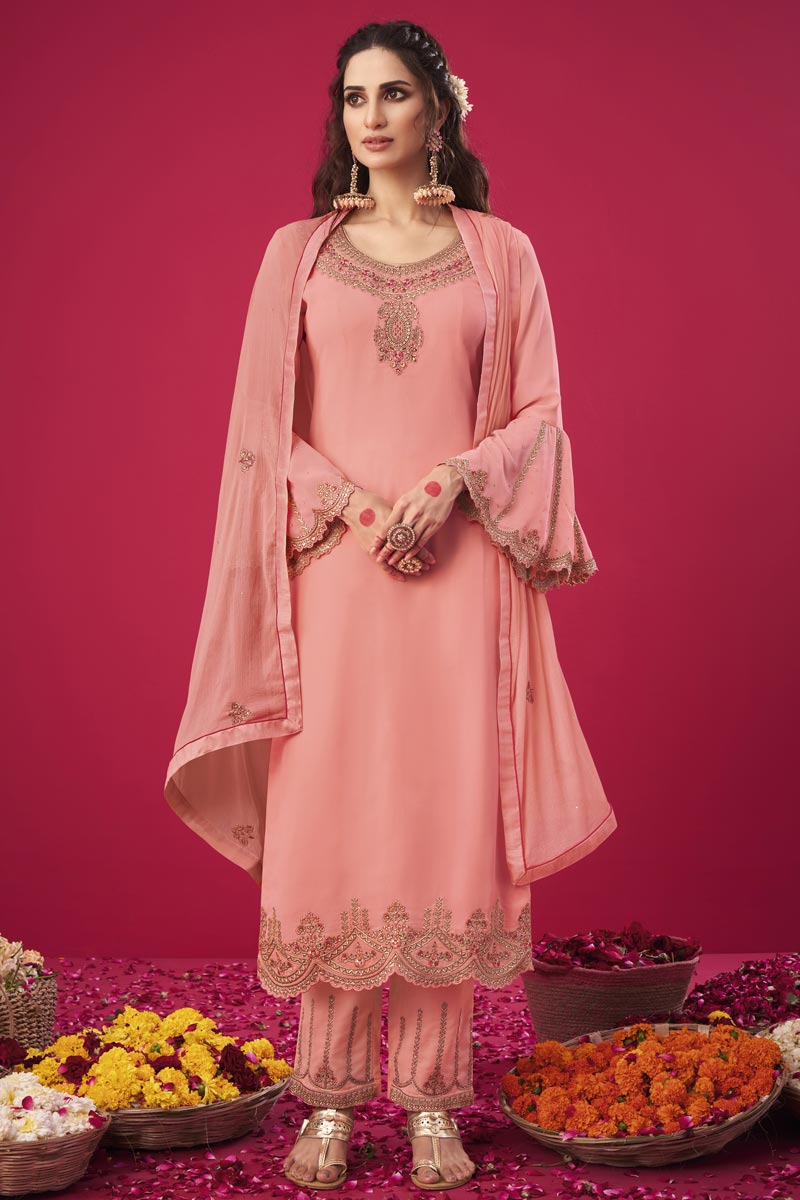 Trendy Peach Color Party Wear Embroidered Straight Cut Suit In Georgette Fabric