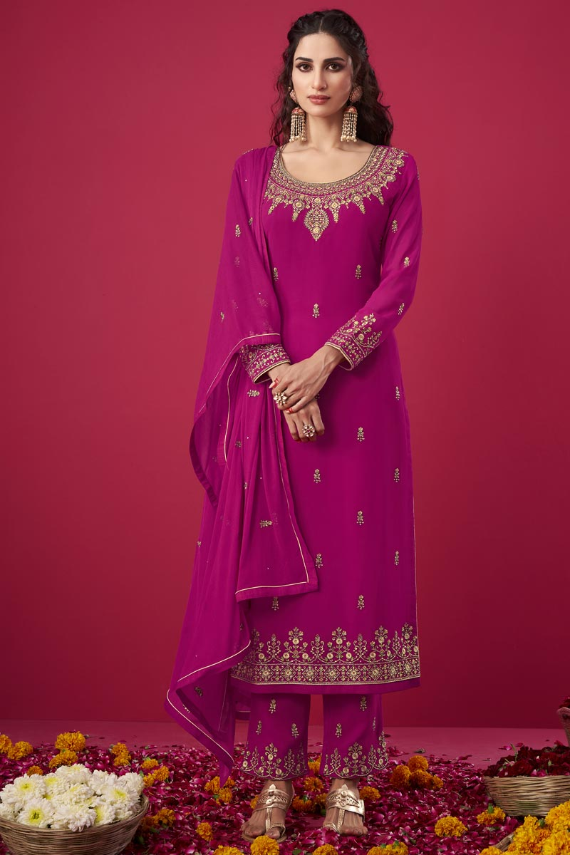 Magenta Color Party Wear Trendy Embroidered Georgette Fabric Straight Cut Dress