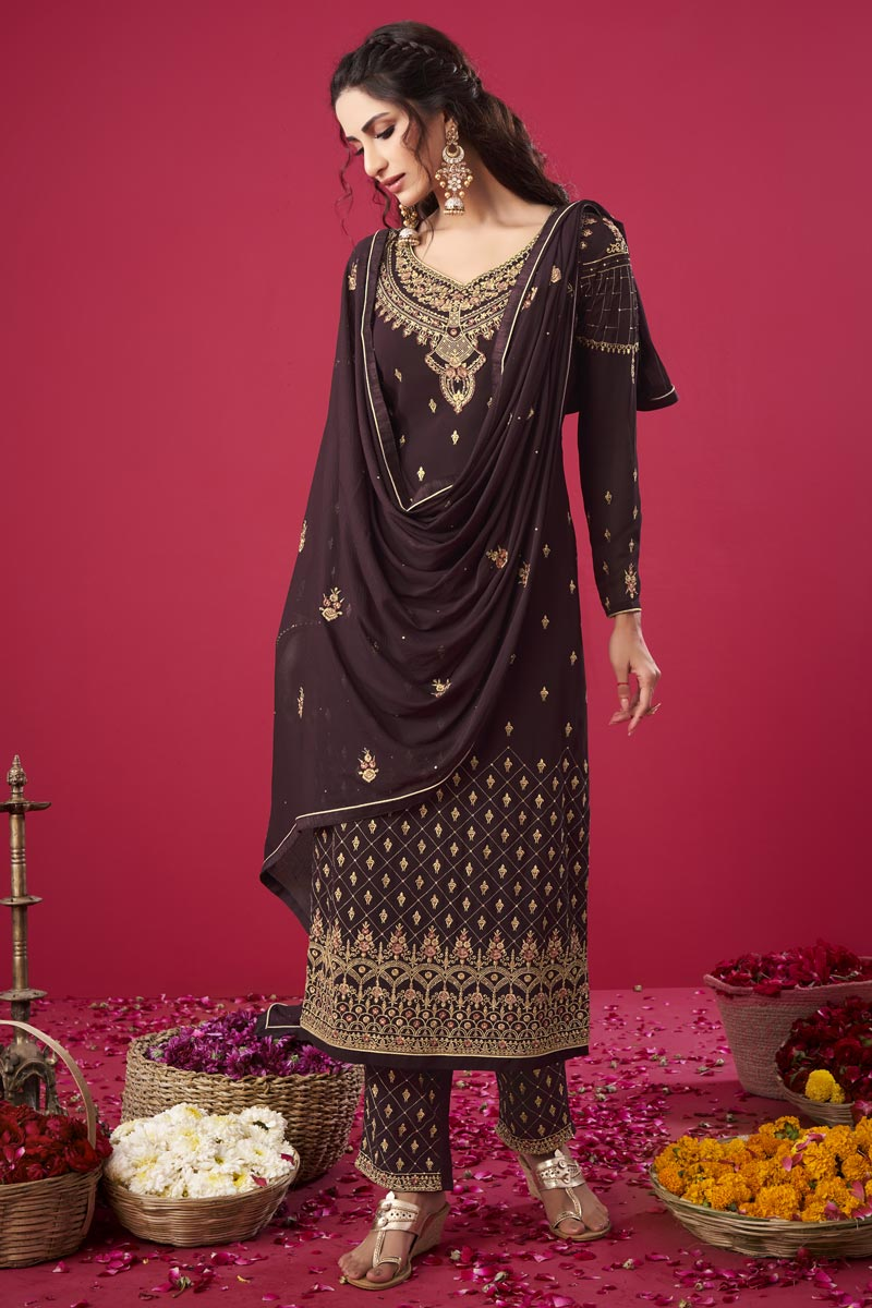 Party Wear Brown Color Trendy Embroidered Straight Cut Suit In Georgette Fabric
