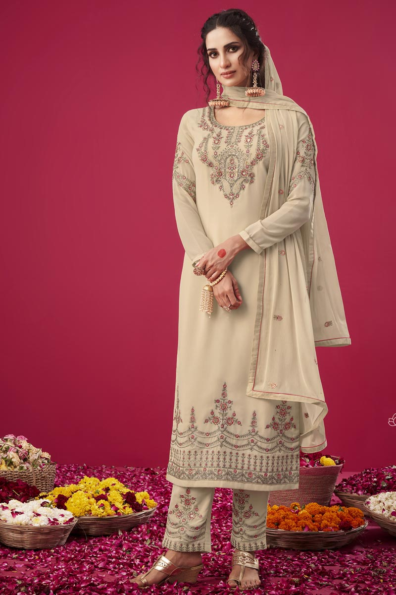 Trendy Party Wear Georgette Fabric Beige Color Embroidered Straight Cut Suit