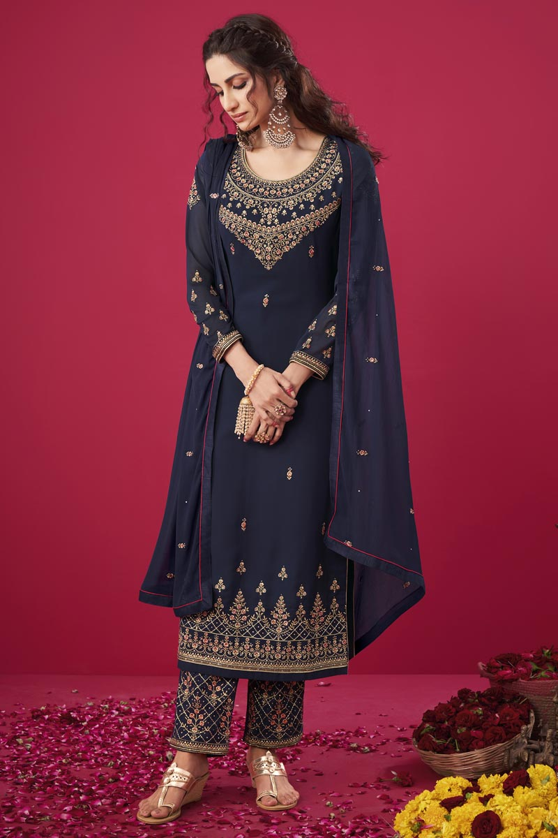 Georgette Fabric Trendy Party Wear Embroidered Straight Cut Suit In Navy Blue Color
