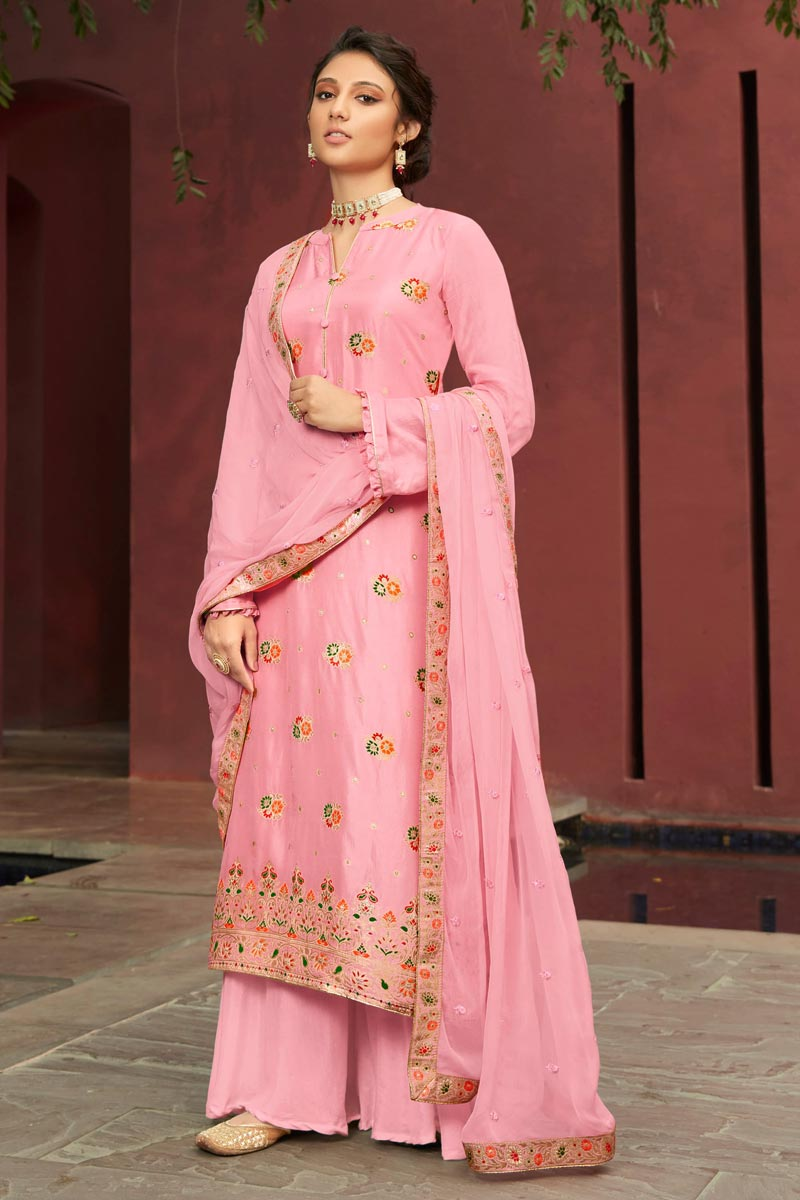 Jacquard Fabric Function Wear Pink Color Fancy Weaving Work Palazzo Suit