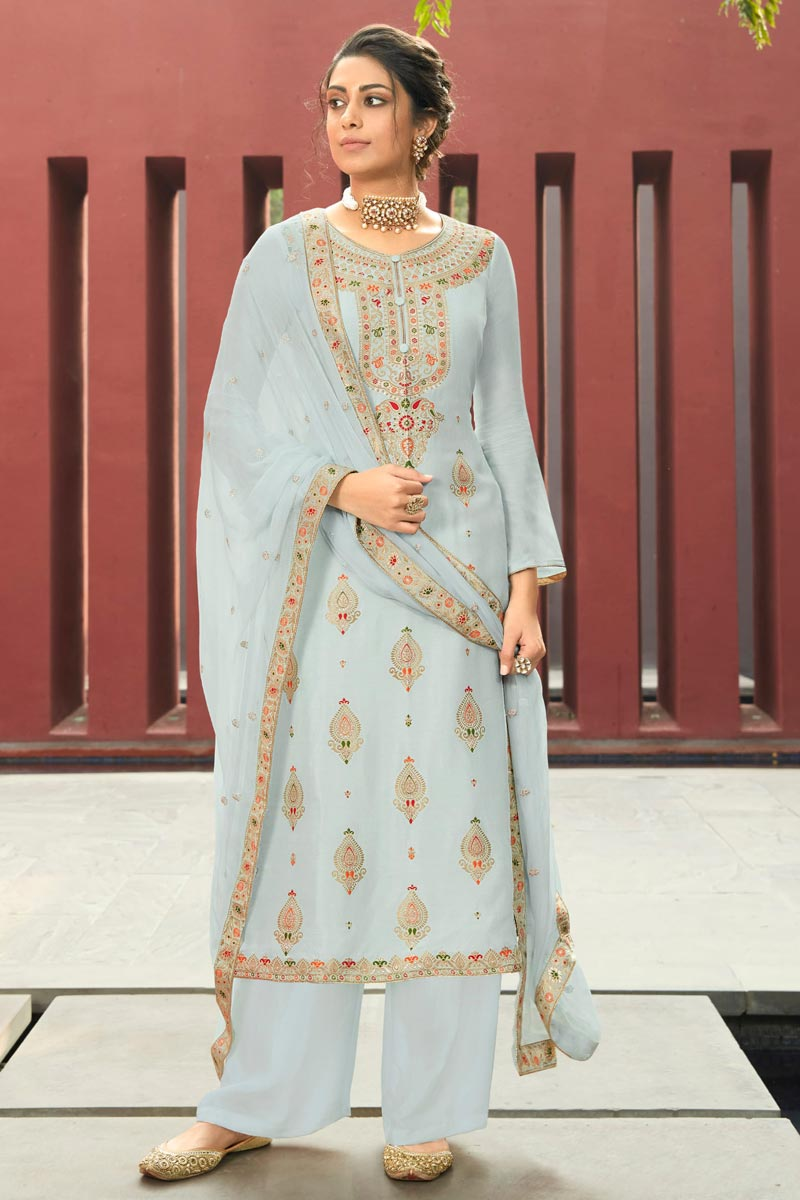 Grey Color Jacquard Fabric Function Wear Fancy Weaving Work Palazzo Dress