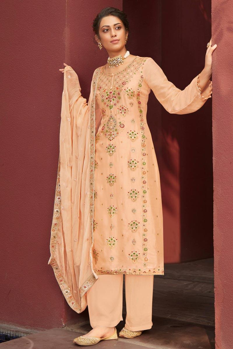 Jacquard Fabric Function Wear Fancy Weaving Work Palazzo Dress In Peach Color