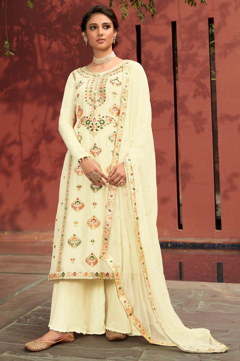 Function Wear Jacquard Fabric Beige Color Fancy Weaving Work Palazzo Suit