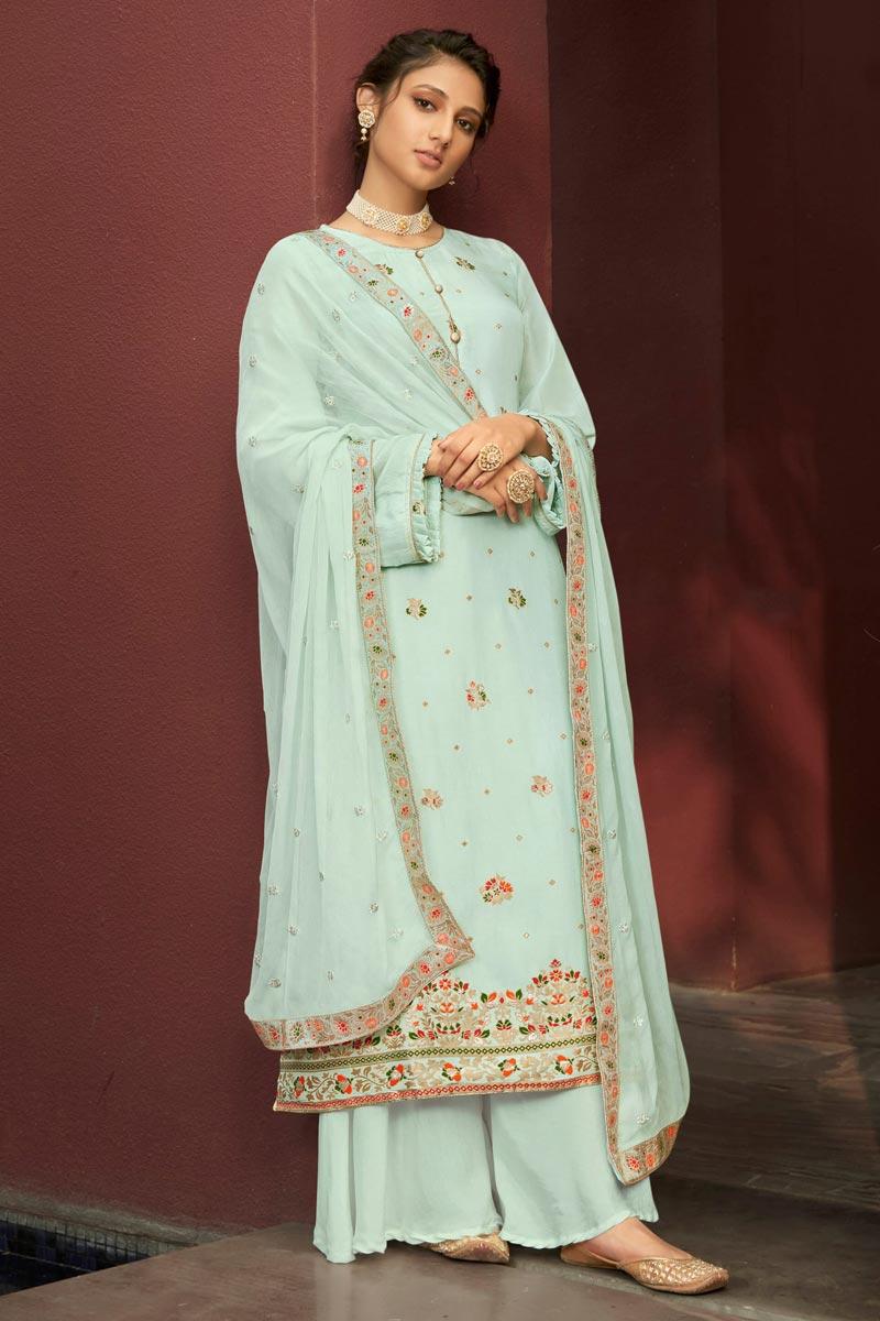 Jacquard Fabric Function Wear Fancy Weaving Work Light Cyan Color Palazzo Suit