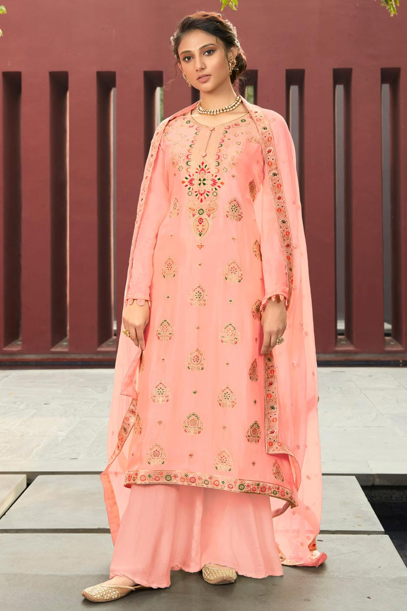 Jacquard Fabric Function Wear Fancy Weaving Work Pink Color Palazzo Dress