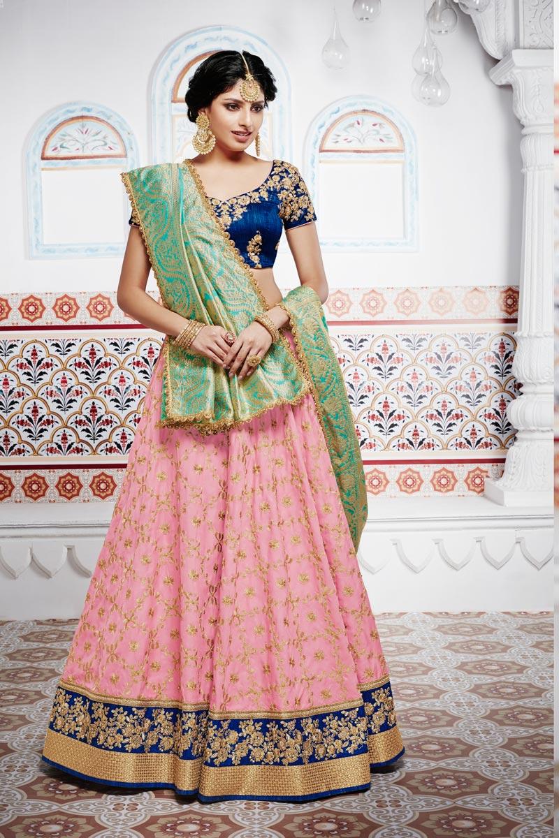 Art Silk Wedding Wear Chaniya Choli In Pink With Embroidery Work and Designer Blouse