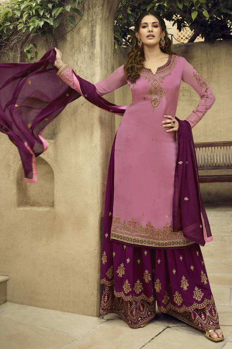 Eid Special Georgette Designer Sangeet Function Wear Embroidered Pink Palazzo Suit