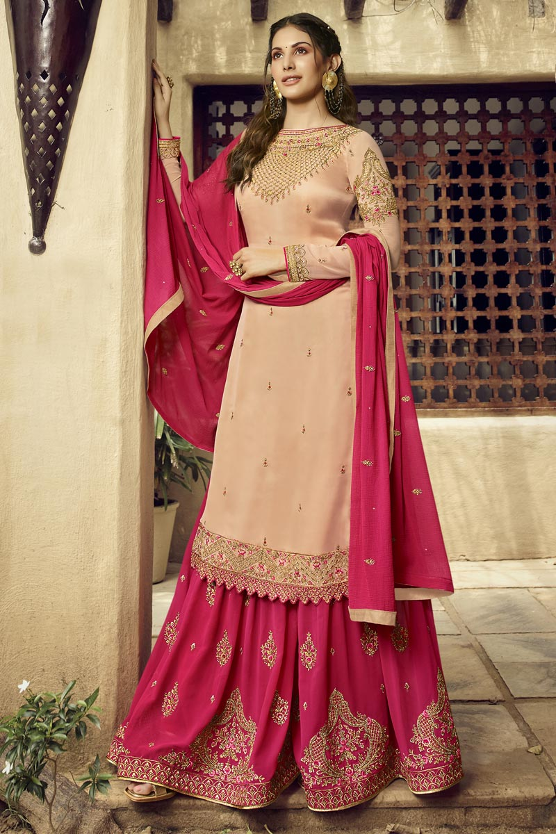 Eid Special Georgette Designer Sangeet Function Wear Pink Embroidered Palazzo Suit