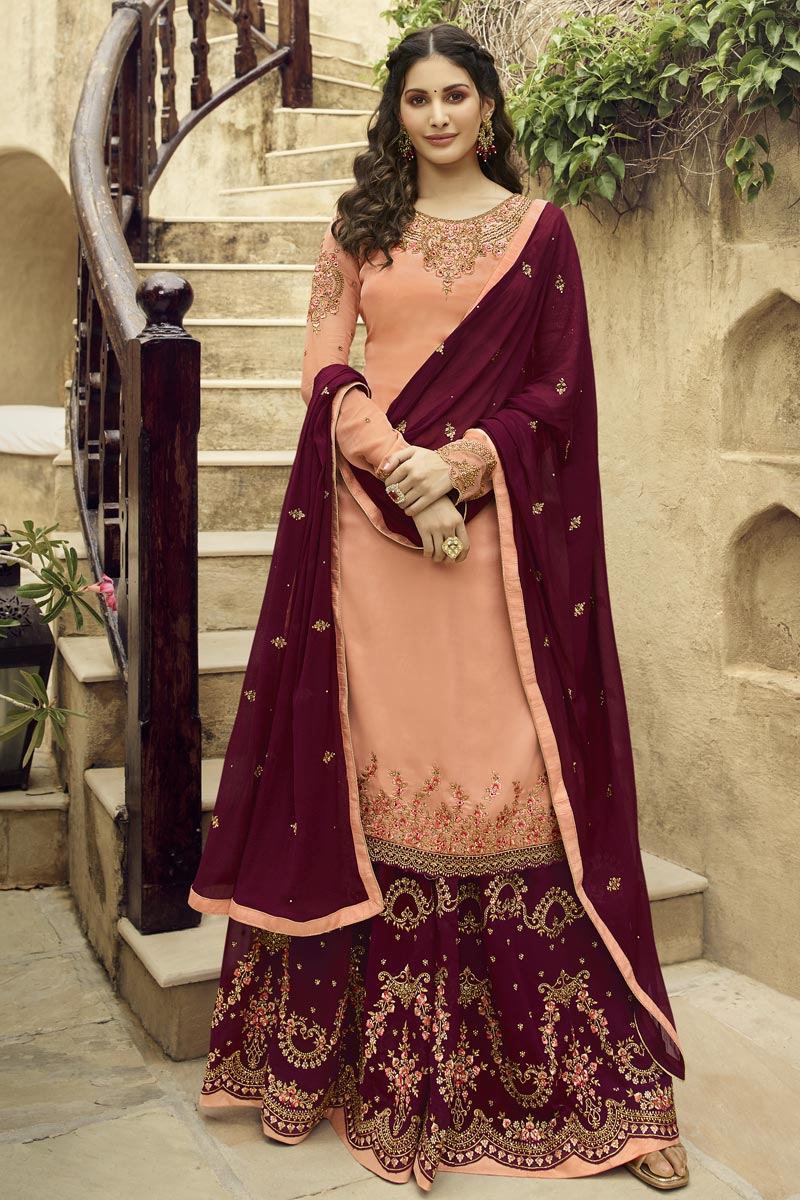 Eid Special Peach Embroidered Designer Sangeet Function Wear Palazzo Dress In Georgette