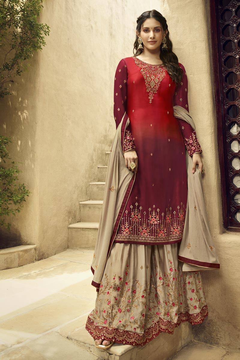 Eid Special Maroon Designer Sangeet Function Wear Embroidered Georgette Palazzo Suit