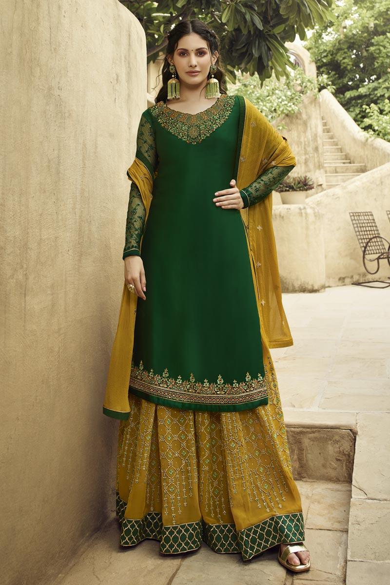 Eid Special Designer Georgette Embroidered Sangeet Function Wear Palazzo Dress In Dark Green