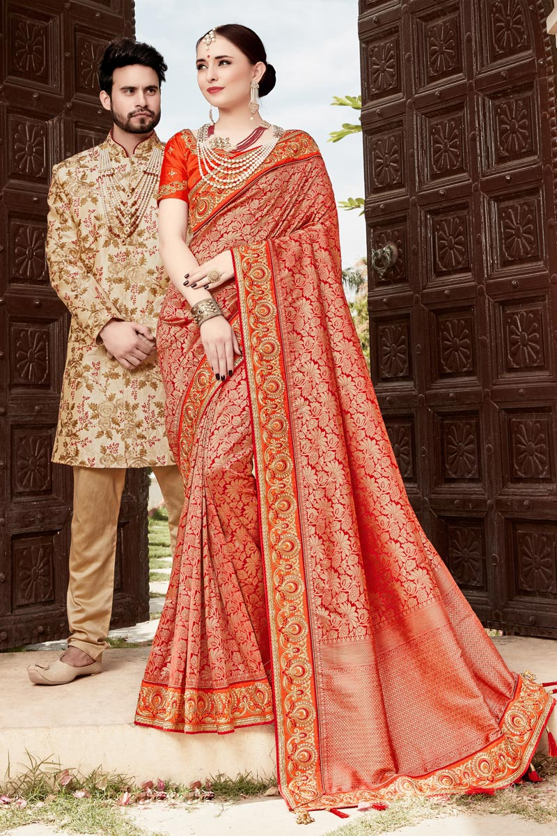 Function Wear Red Weaving Work Saree In Art Silk With Embelllished Blouse