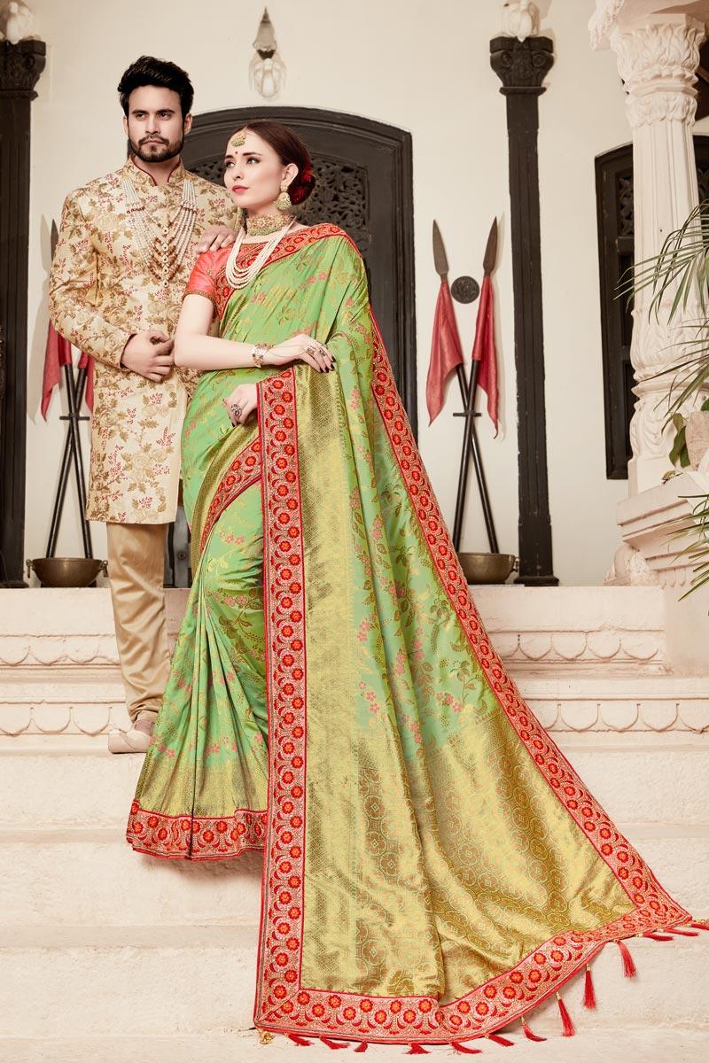 Art Silk Sea Green Weaving Work Function Wear Saree With Fancy Blouse