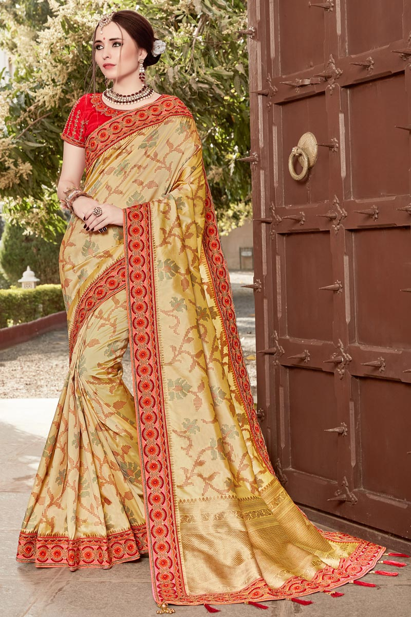 Art Silk Function Wear Weaving Work Saree In Beige With Embelllished Blouse