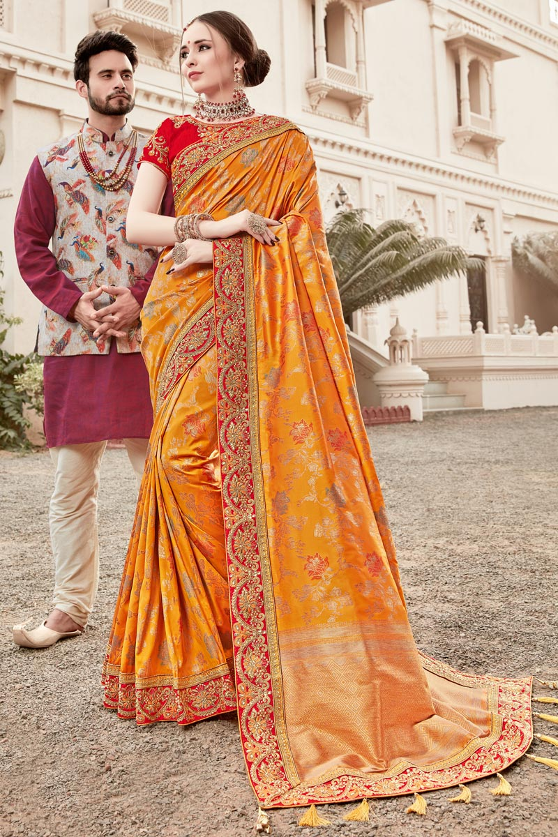 Function Wear Art Silk Weaving Work Saree In Mustard With Embelllished Blouse
