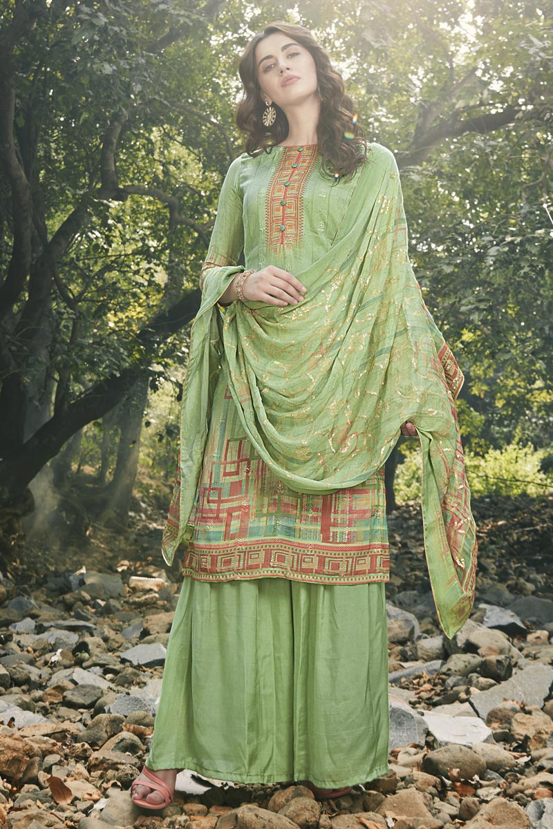 Art Silk Fabric Festive Wear Designer Digital Printed Sea Green Color Palazzo Dress
