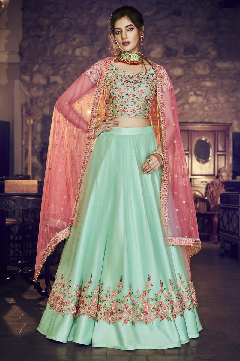 Designer Embroidered Sea Green Color Reception Wear Net And Satin Fabric Lehenga Choli
