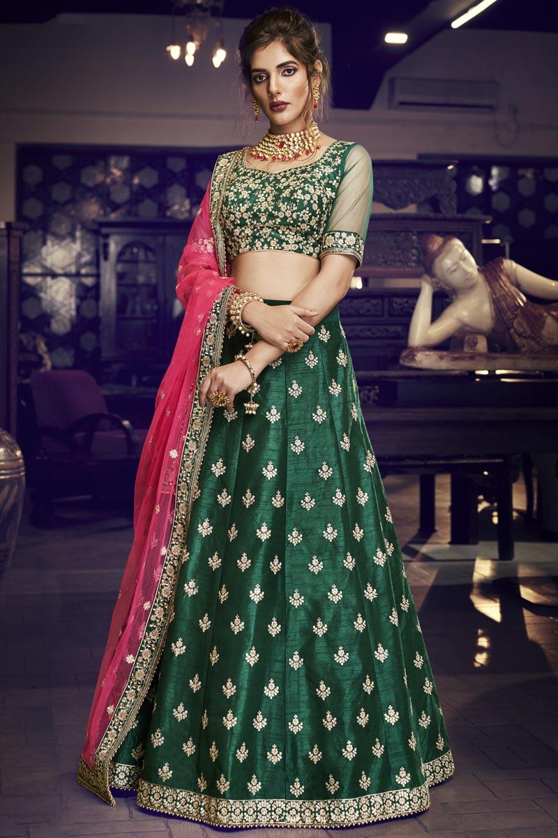 Art Silk Fabric Reception Wear Designer Embroidered Dark Green Lehenga