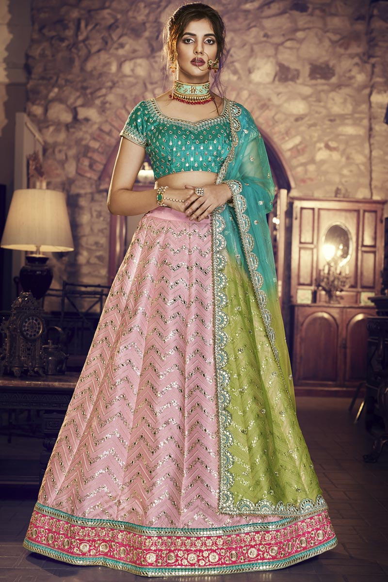 Festive Special Reception Wear Satin Silk Fabric Embroidered Pink Designer Lehenga Choli
