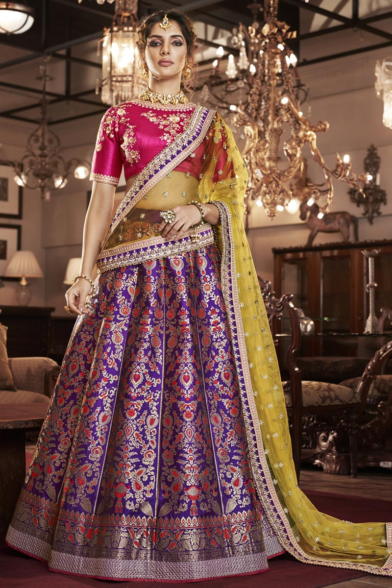 Reception Wear Purple Color Jacquard Silk Embroidered Designer Lehenga Choli