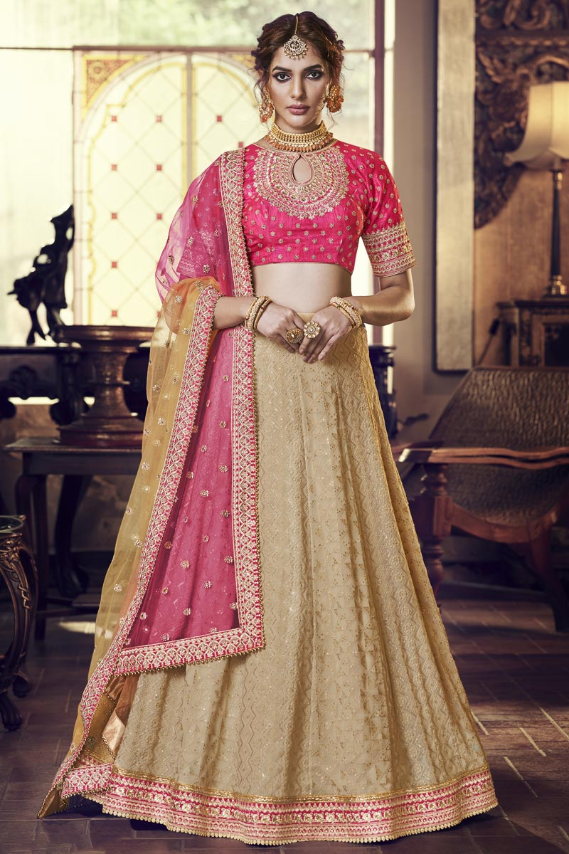Festive Special Designer Embroidered Georgette Fabric Reception Wear Cream Color Lehenga Choli